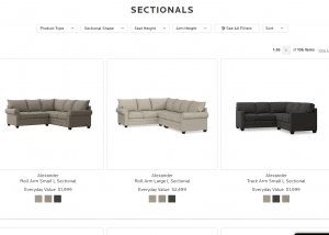 Bassett Furniture sectional sofa website product page