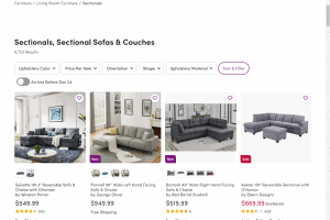 Wayfair sectional sofa website product page
