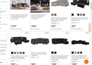 Home Depot sectional sofa website product page