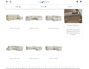 La-Z-Boy sectional sofa website product page