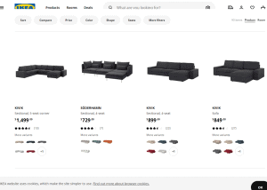 IKEA sectional sofa website product page