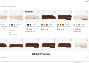 Pottery Barn sectional sofa website product page