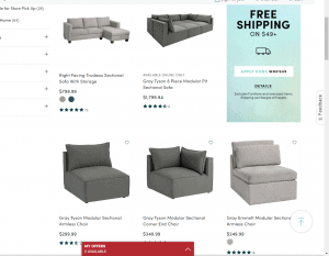 World Market sectional sofa website product page