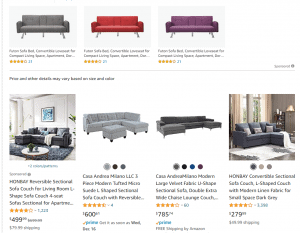 Amazon sectional sofa website product page