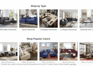 Overstock sectional sofa website product page
