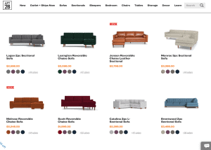 Apt 2B sectional sofa website product page