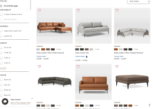 West Elm sectional sofa website product page