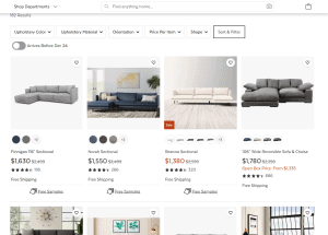 AllModern sectional sofa website product page