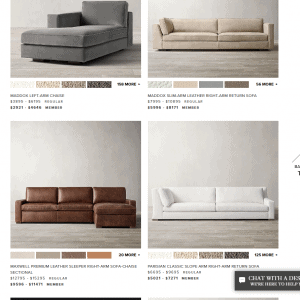Restoration Hardware sectional sofa website product page