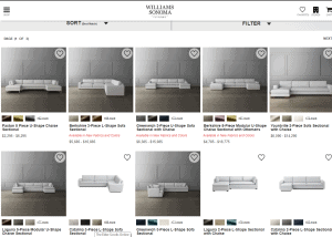 Williams Sonoma sectional sofa website product page
