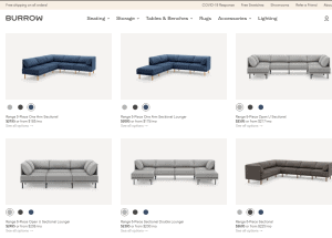 Burrow sectional sofa website product page