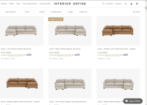 Interior define sectional sofa website product page