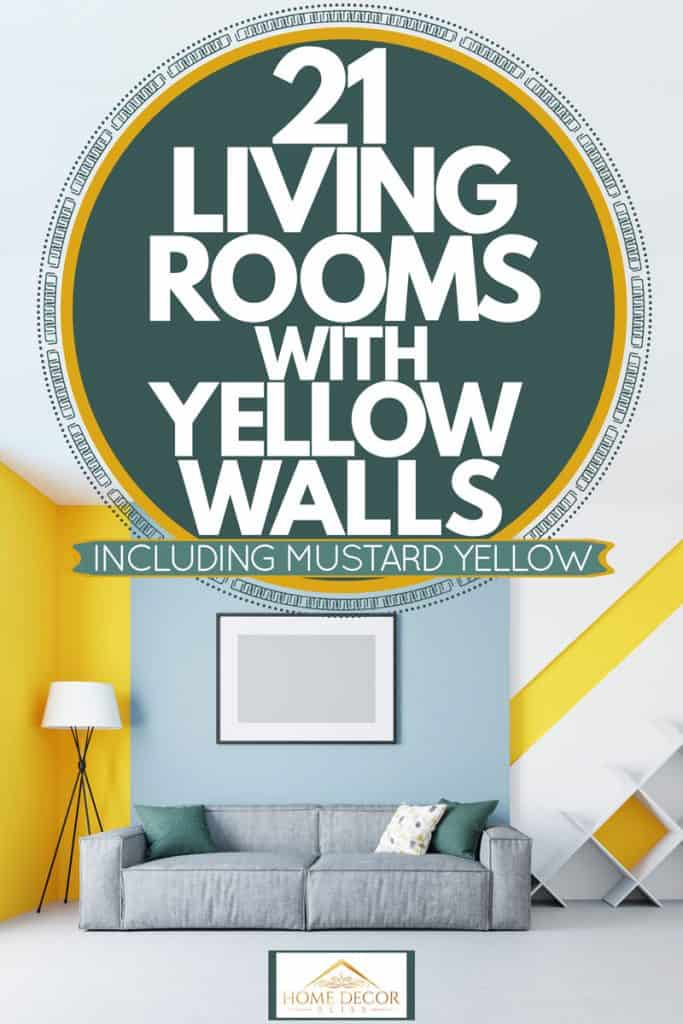 Living room with mixed colors and an accent wall with a yellow and light blue painting incorporated with a gray couch, 21 Living Rooms With Yellow Walls [Inc. Mustard Yellow]