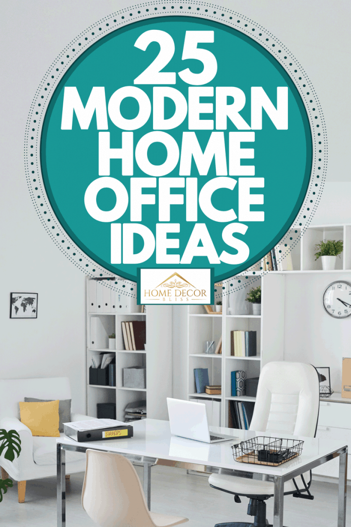A white office area with a white couch, book shelf on the back with books and files, and a white ceramic table in the front, 25 Modern Home Office Ideas