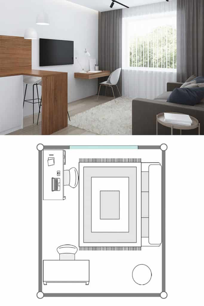 A contemporary living room with a television hanged on a white wall gray couch and a white rug on a gray wooden laminated flooring