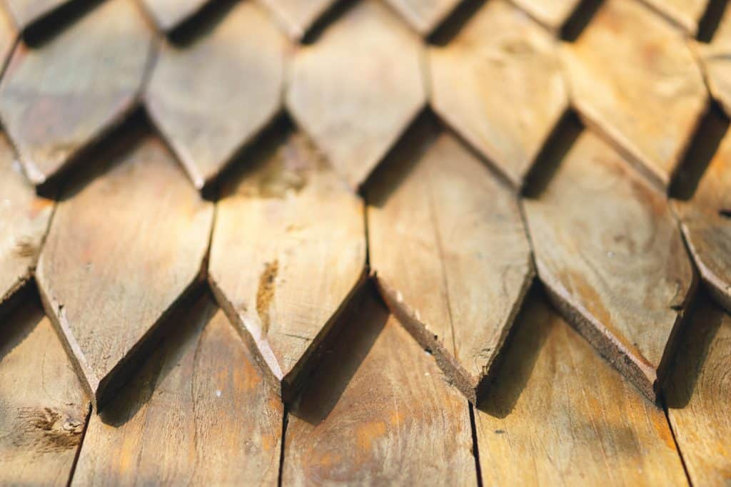 A detailed photo of a wooden roofing
