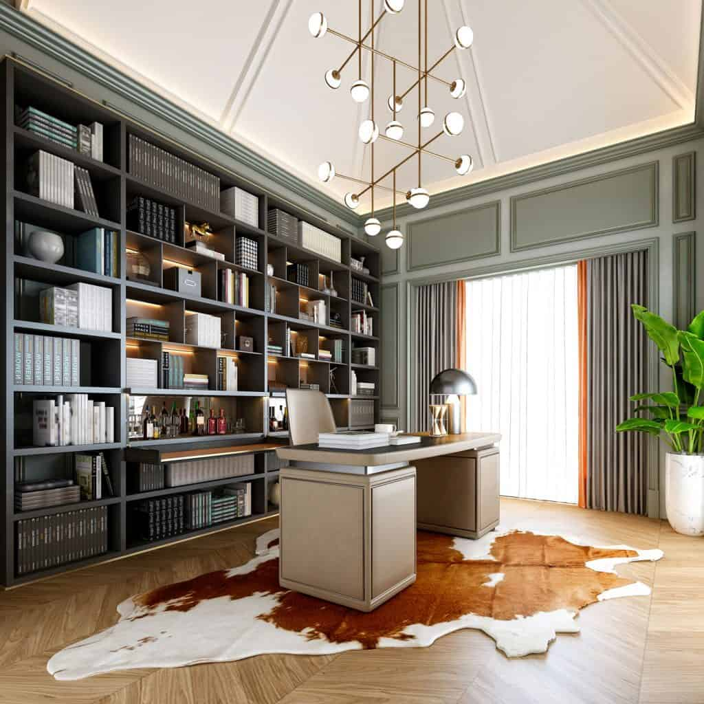 A gorgeous home office with a small office desk and an abstract area rug on the floor with a large book shelf on the back, 25 Modern Home Office Ideas