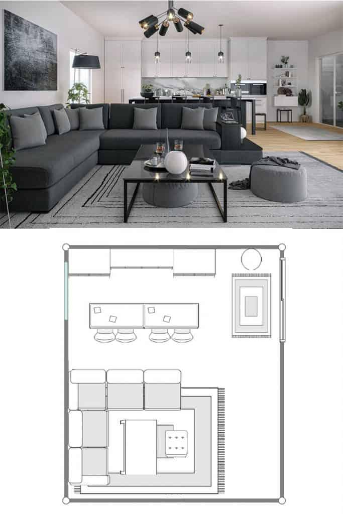 A gray sectional sofa inside a modern contemporary living room