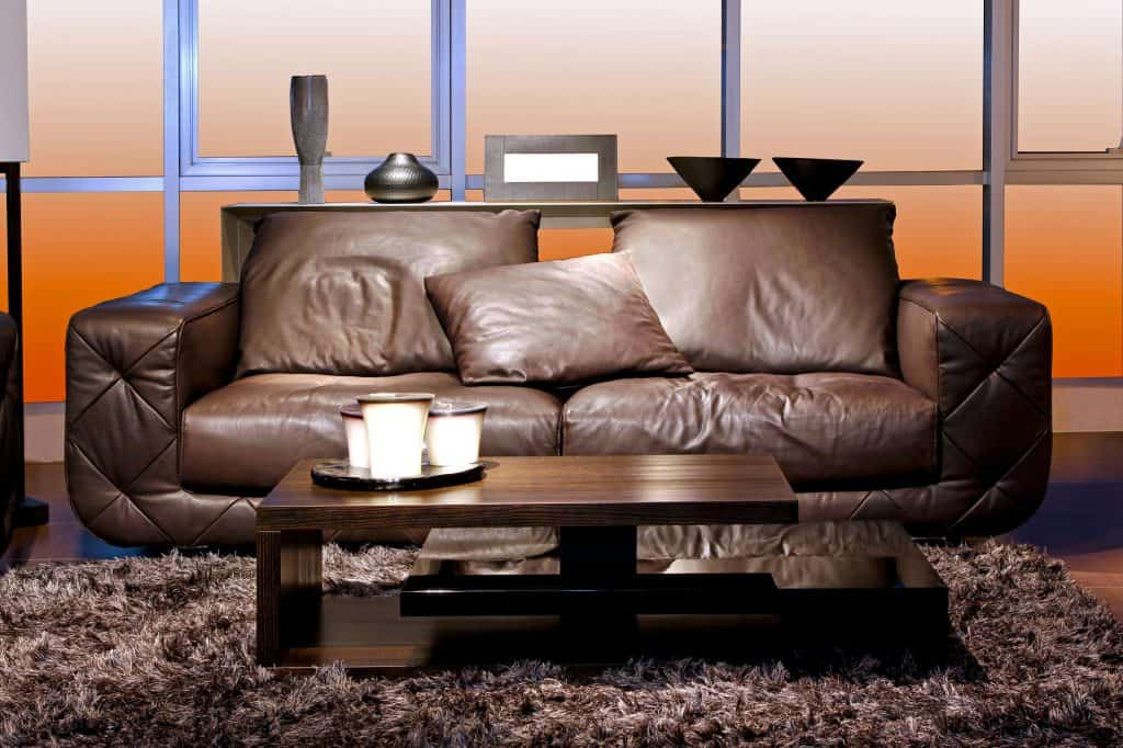 A living room with a brown couch, brown table, and a fluffy brown colored rug