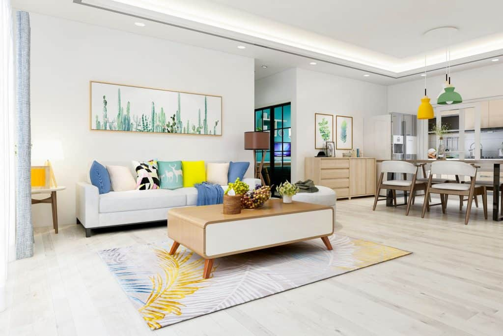 A spacious contemporary mixed with a retro styled furnitures in a light gray painted living room