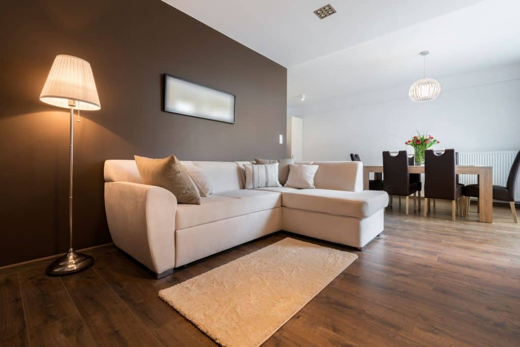 A spacious minimalist themed living room with hardwood flooring, brown accent wall and a white walled dining room