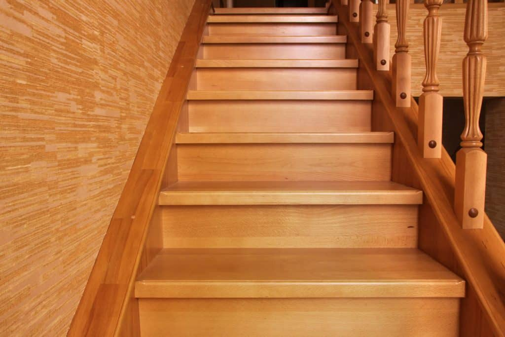 A wooden staircase of a house