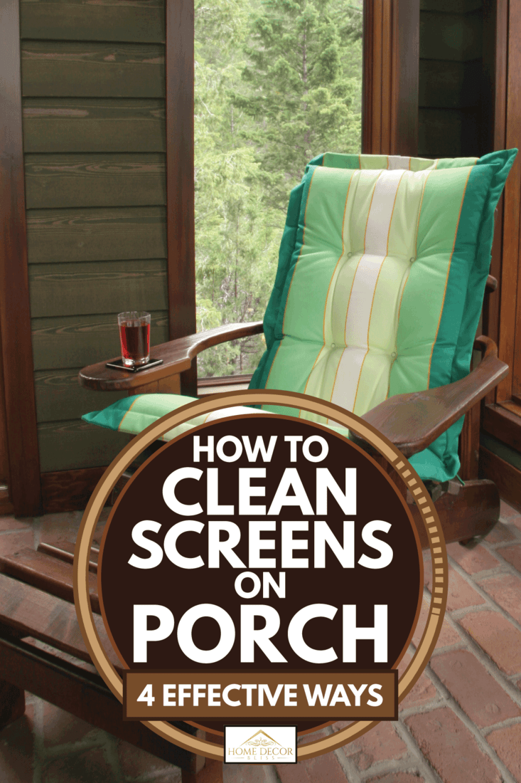 Adirondack chair at the vacation home with screened in porch in the mountains, How to Clean Screens on Porch (4 Effective Ways)
