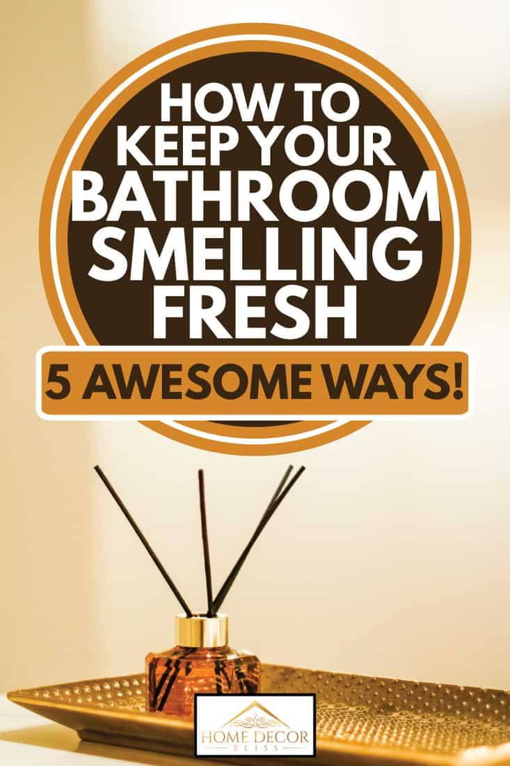 Air freshener in a dish inside the bathroom, reed diffuser and aromatherapy concept, How To Keep Your Bathroom Smelling Fresh [5 Awesome Ways!]