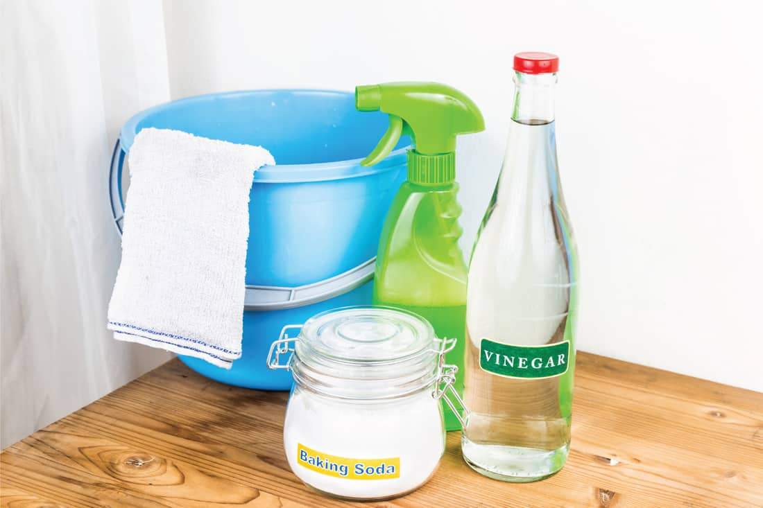 Baking soda with vinegar, natural mix for effective house cleaning, pail, rag and sprayer