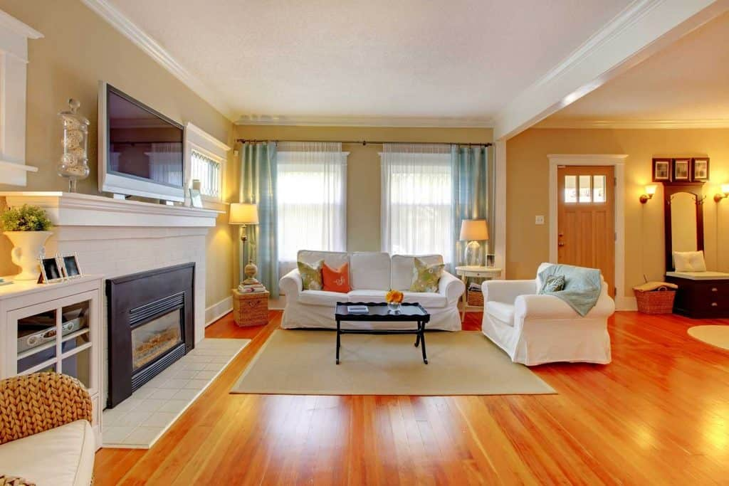 Beautiful white and beige living room with wooden floor, fireplace and sofa