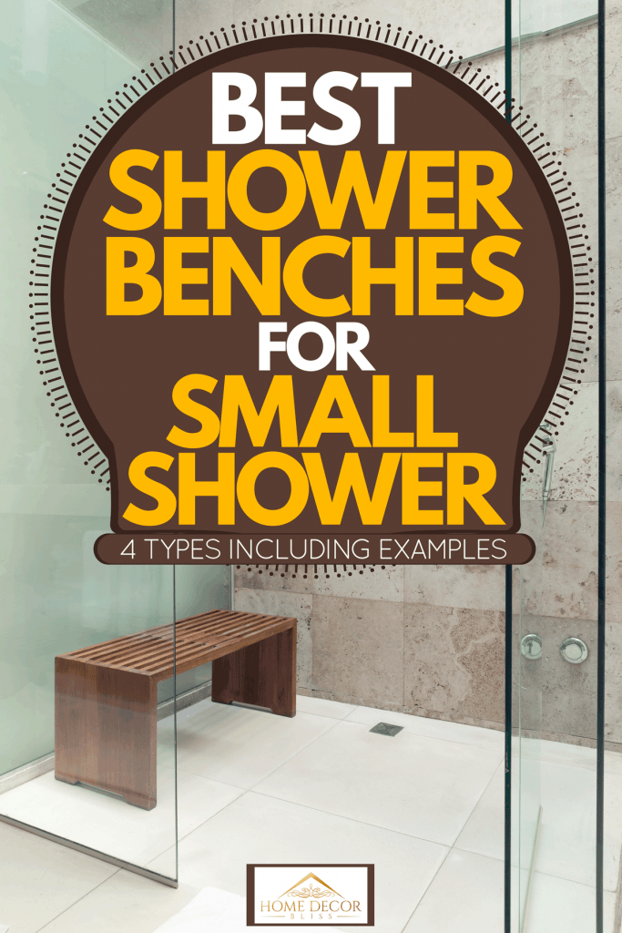A small wooden shower bench inside a modern white and faux tiled bathroom, Best Shower Benches For Small Shower [4 Types Inc. Examples]