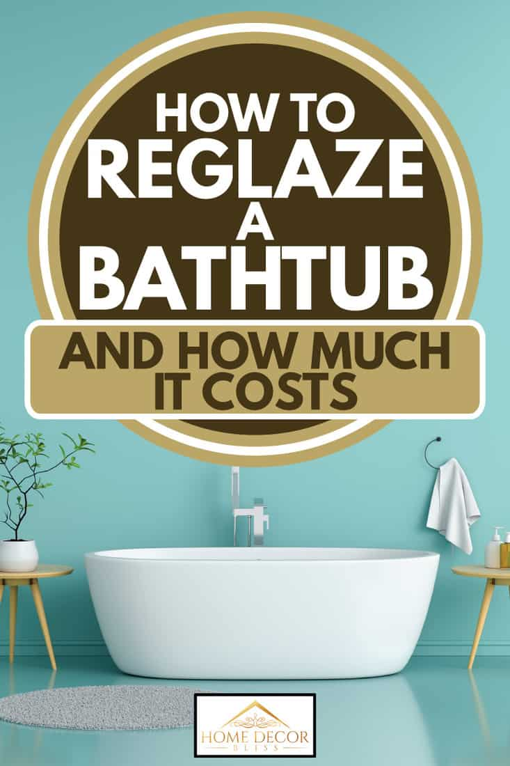 Blue bathroom interior bathtub in white with small tables on the sides, How to Reglaze a Bathtub [And How Much It Costs]