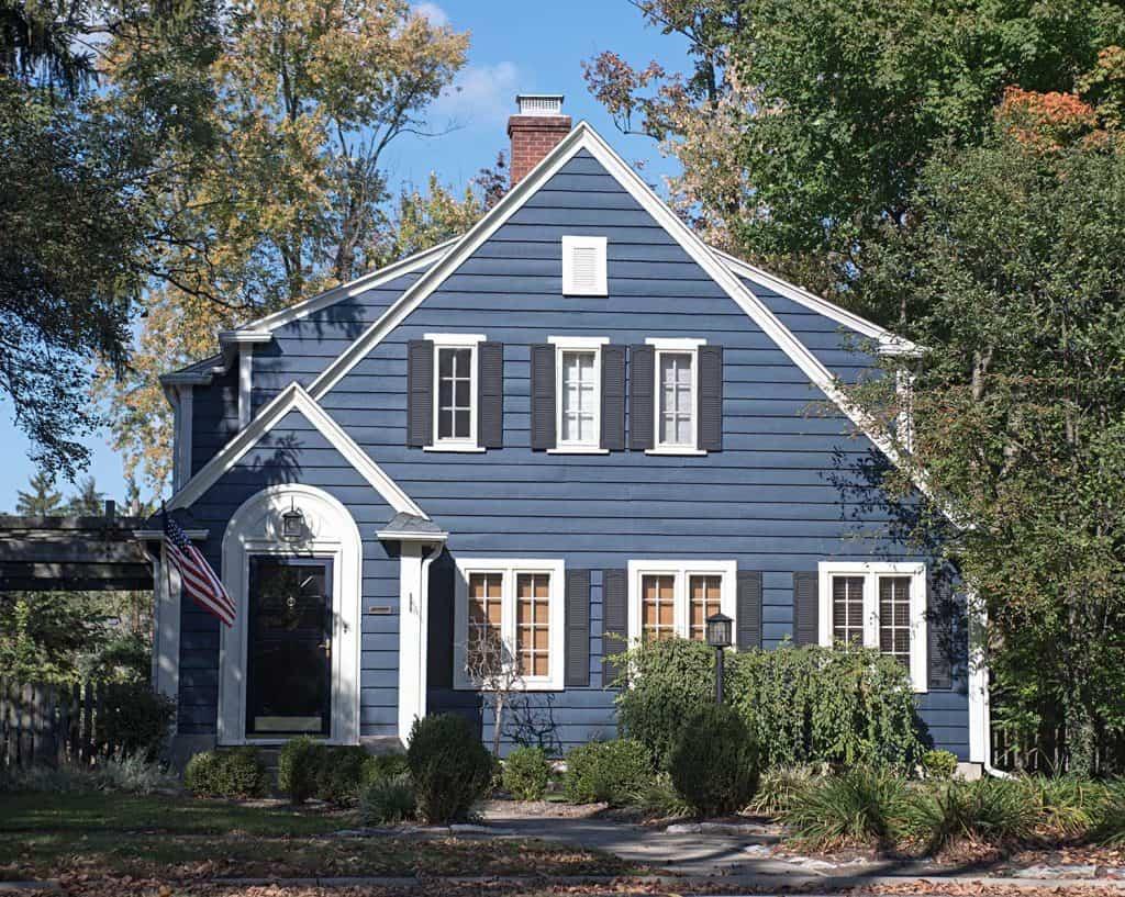 Blue wood sided house
