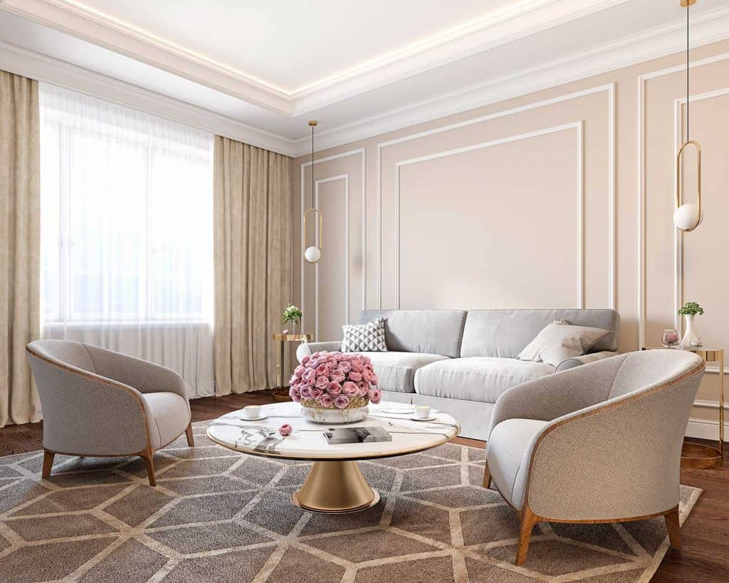 Classic beige interior with sofa, armchairs, coffee table, carpet, curtain, flowers and wall moldings