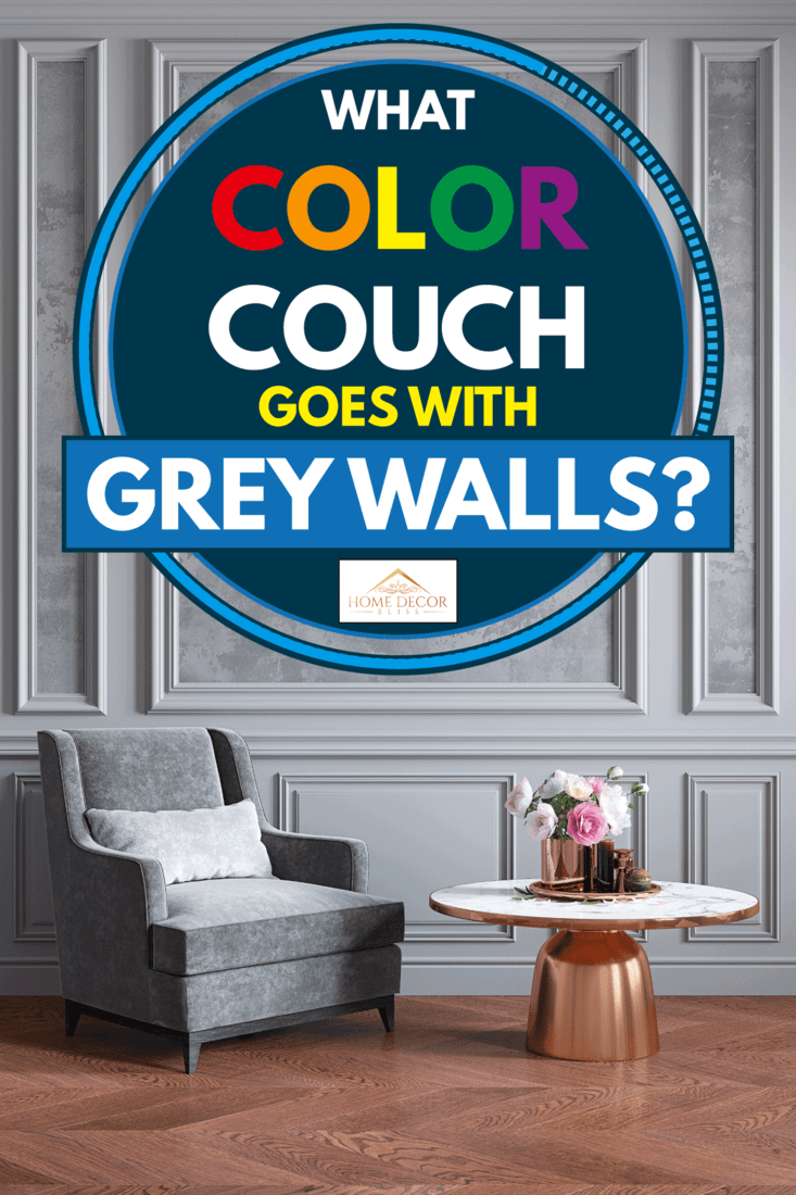 Classic gray interior with gray armchair, coffee table, flowers and wall moldings, What Color Couch Goes With Grey Walls