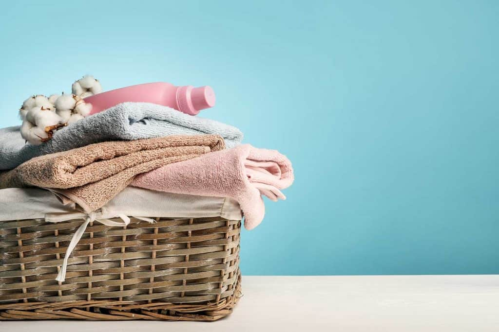 Clean and fresh laundry in basket