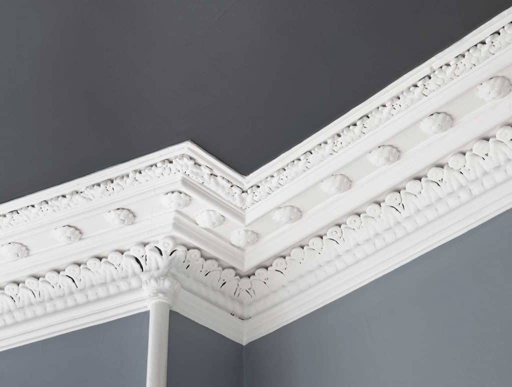 Close up of a traditional, intricate Georgian cornice moulding on the interior of an Edinburgh flat