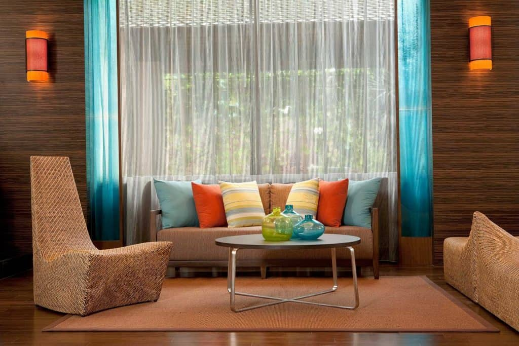 Contemporary living room with colorful throw pillows