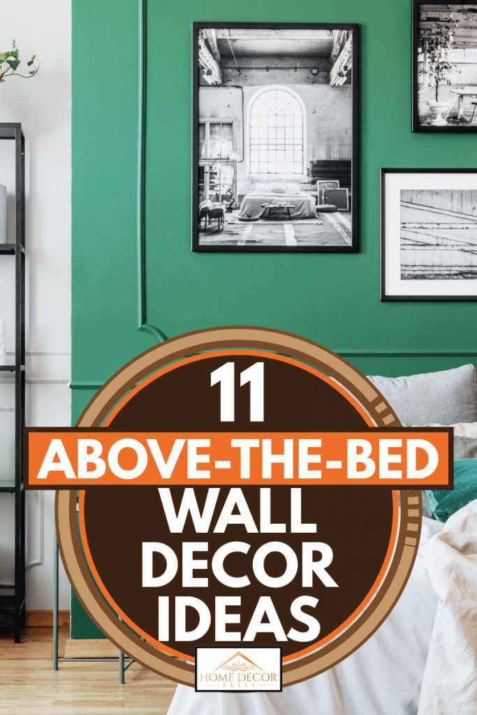 Gallery of black and white poster on green wall behind king-size bed with pillows and blanket, 11 Above-The-Bed Wall Decor Ideas