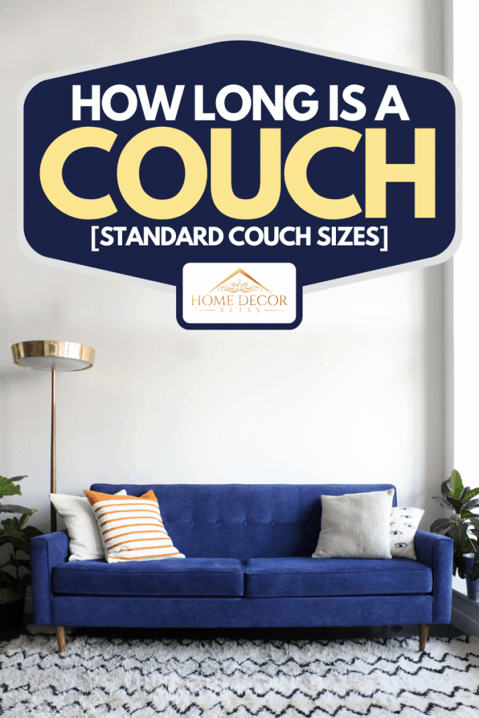 Royal blue suede mid century modern 4-seater couch, How Long Is A Couch [Standard Couch Sizes]