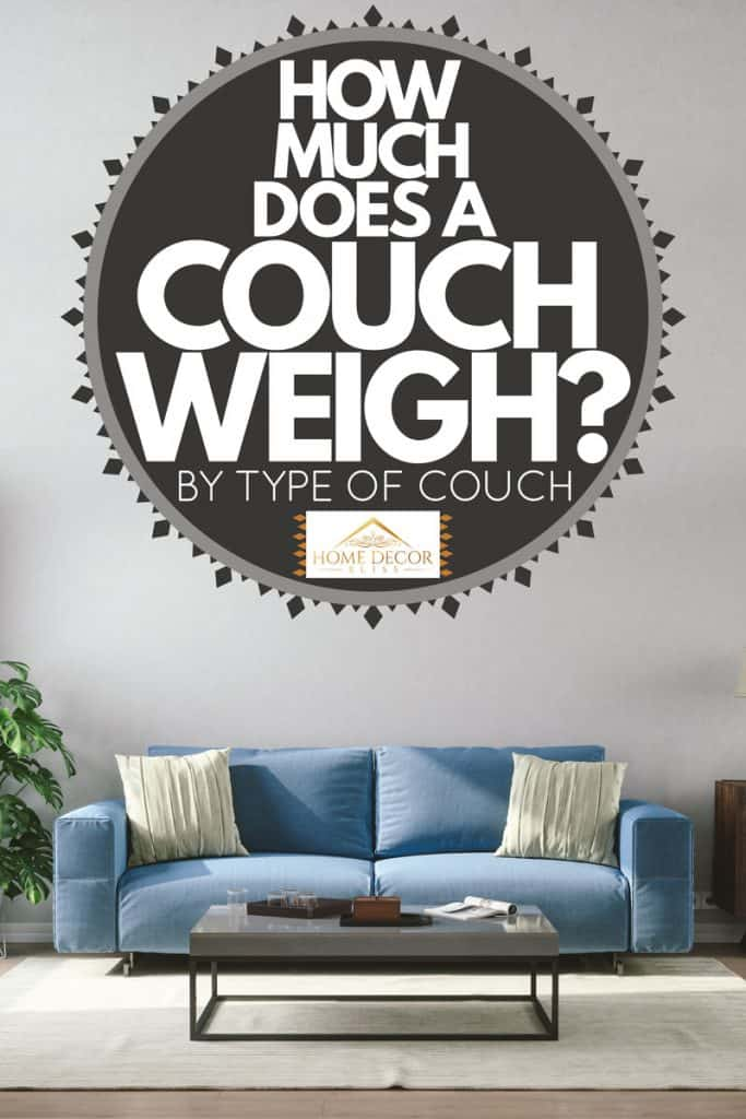 A blue couch with throw pillows on it with an off white colored area rug on the floor, How Much Does A Couch Weigh? [By Type of Couch]
