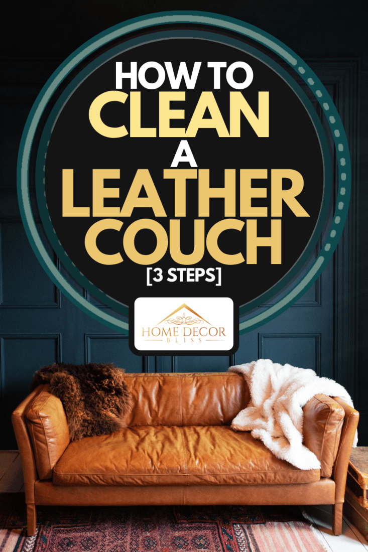 A living room interior with brown leather couch and wooden floor, How To Clean A Leather Couch [3 Steps]