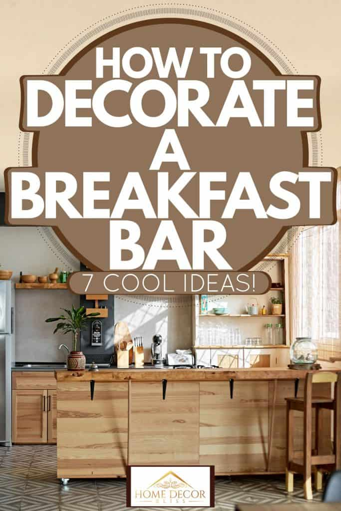 A modern rustic styled kitchen with wooden dividers, kitchen cabinets, and wooden paneled breakfast bar, How To Decorate A Breakfast Bar [7 Cool Ideas!]
