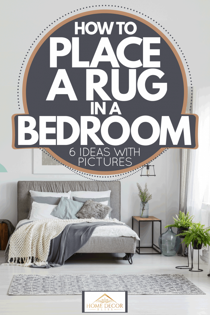 Mixed traditional and contemporary bedroom with white walls, bed sheets, hanging lamps, and a gray rug, How To Place A Rug In A Bedroom [6 Ideas with pictures]`
