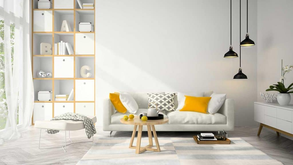 Interior modern design living room with white sofa and wooden coffee table