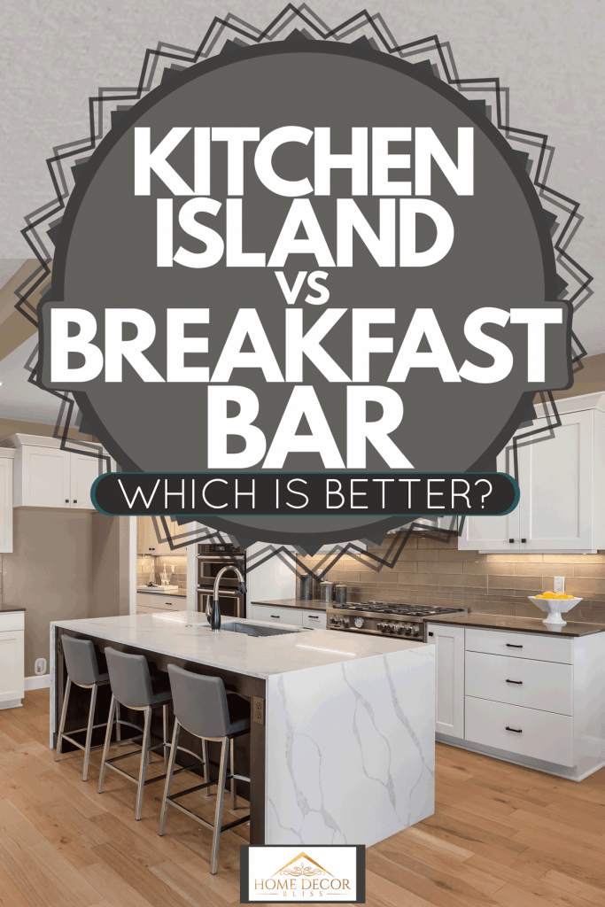 Modern contemporary kitchen area with wooden laminated flooring, marble countertop kitchen island, and white paneled kitchen cabinets, Kitchen Island Vs Breakfast Bar - Which Is Better?