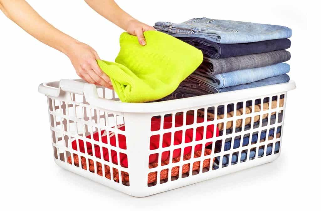 Laundry basket with folded clothes