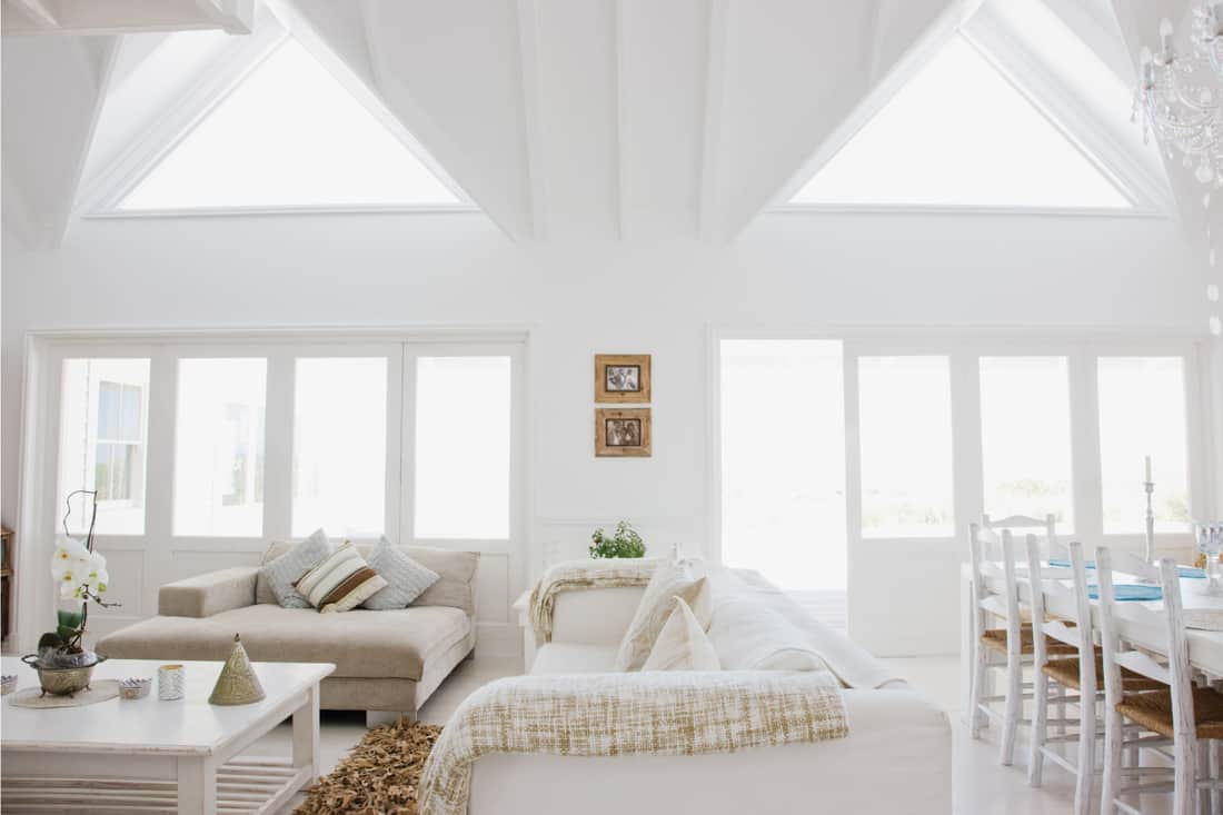 Bright living room in modern home with skylights