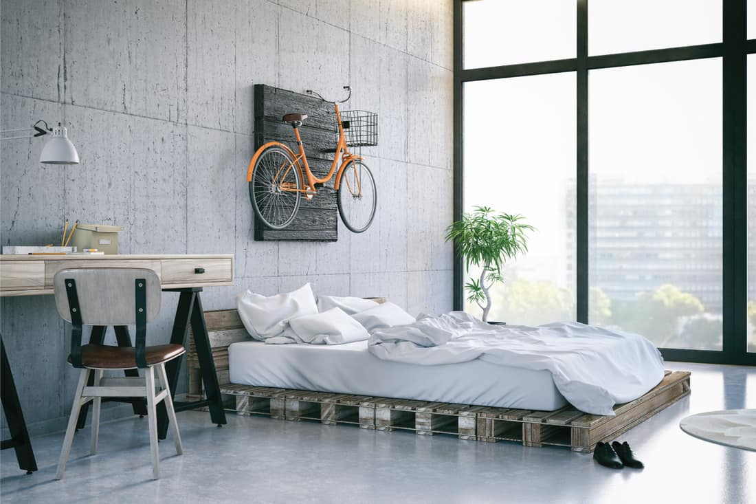 Loft room with cozy and eclectic utility design