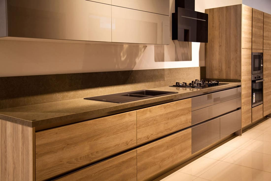Luxurious modern kitchen with oak paneled cabinets